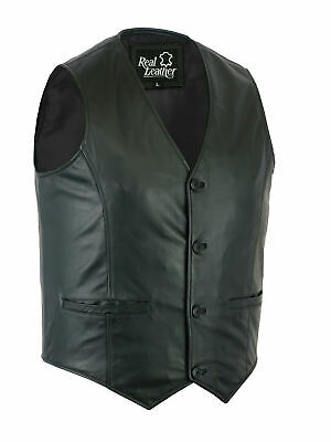Mens Real Soft Leather Vest Genuine Stylish Classic Waistcoat Formal