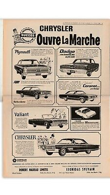 ad  french newspaper   1966 PLYMOUTH DODGE  CHRYSLER