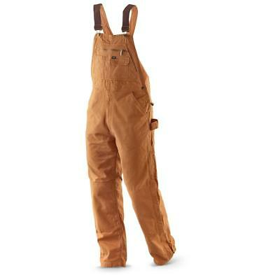 Men's Key Unlined Washed Duck Bib Overalls 36X32 NEW