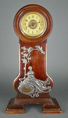 Fine Antique German Art Nouveau Junghans Jugendstil Silver Plate Table Clock