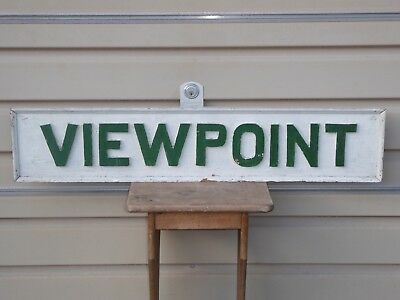 Old Original 'viewpoint' Wood Trade Sign Vintage Antique Scenic Hotel Restaurant