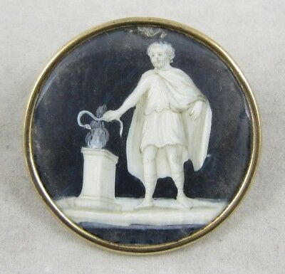 Antique Vintage Picture Button ~ Greek Figure w/Snake ~ Hand-Painted; Glass Top