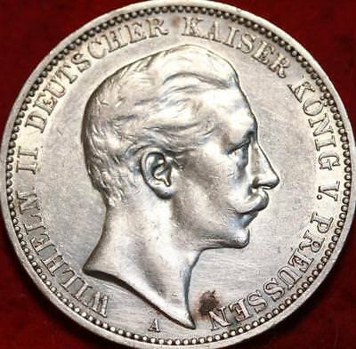 1910 Germany Prussia 3 Mark Silver Foreign Coin