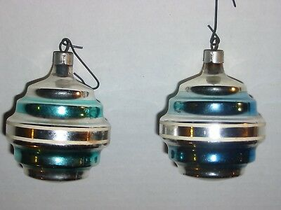 """Lot of 2 Vintage Glass Christmas Tree Ornaments 3"""" silver blue stripes rings"""