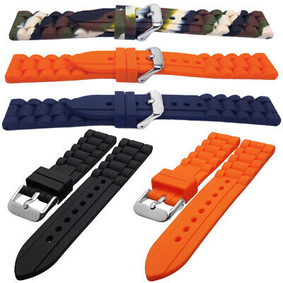 Silicone Rubber Divers Watch Strap Black Orange Blue Camo 18mm 20mm 22mm 24mm