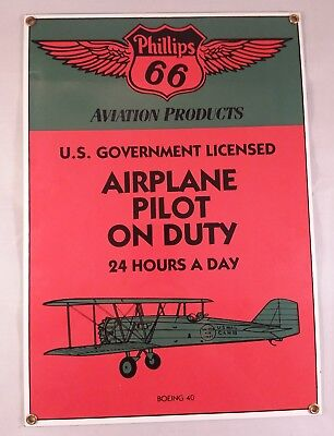 ANDE ROONEY Advertising Sign PHILLIPS 66 AIRPLANE PILOT ON DUTY Aviation Boeing