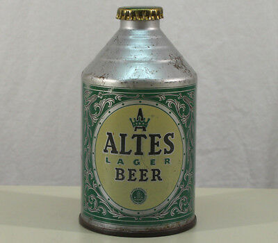 Altes Lager •yellow• Crowntainer Cone Top Beer Can+Cap Tivoli Detroit, Michigan+