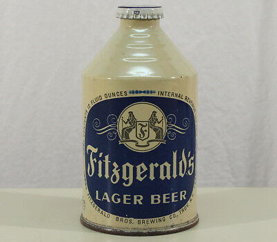 Fitzgerald's Super Clean Irtp Crowntainer Cone Top Beer Can+Cap Troy Ny New York