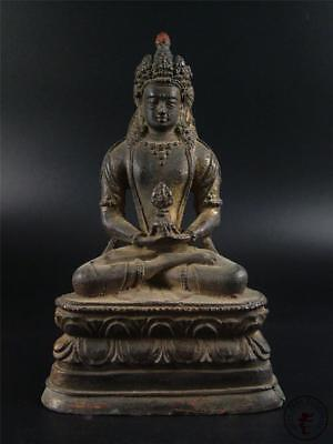 Large Antique Old Chinese Tibet Bronze Made Buddha Figure of Amitayus Statue Qin