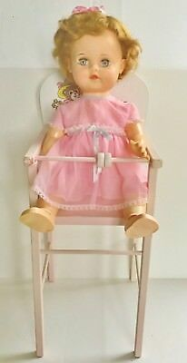 Vtg 1960s Rare Baby Doll High Chair Pink white wood 3 bears Dy Dee Tiny Tears sm