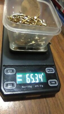 65.34 grams 10k 12k 14k mix scrap gold lot of pins, necklaces, earrings etc.