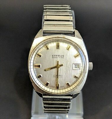 Cyprus Date-Time Hand Winding Incabloc 17 Jewel Vintage Swiss Made Men's Watch