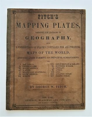 1850 antique FITCH atlas GEOGRAPHY MAPPING PLATES workbook for book RARE UNUSED