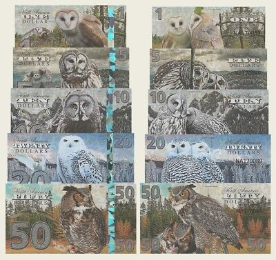 North America Owls  - 1, 5, 10, 20, 50 Dollars (2017) Fantasy Note - Full set