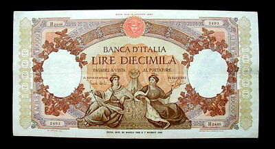 1962 Italy LARGE and RARE Banknote L. 10000 Marinare VF High quality no reserve