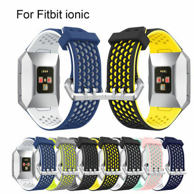 Breathable Bicolor Silicone Sport Watch Band Wristband Strap For Fitbit Ionic