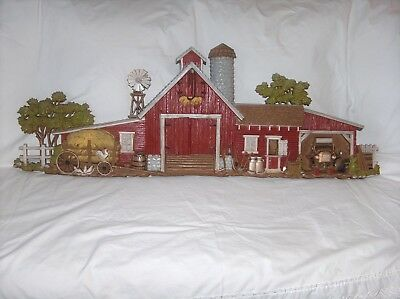 Vintage Burwood Products Homco Barn Garage Wall Hanging Plaque Plastic Colorful