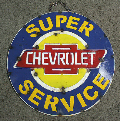Metal CHEVY Bow Tie Sign Gas Oil Garage Man Cave Home Decor SUPER SERVICE TIN #2