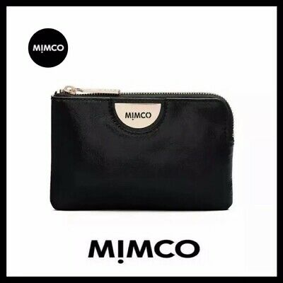Mimco Echo Black Rose Gold Patent Leather Pouch Wallet• Authentic • New with Tag