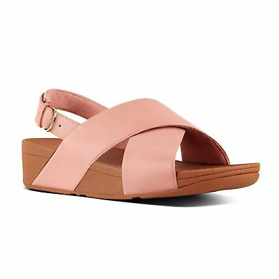 b68f19c09fe4 FitFlop™ LULU™ Ladies Womens Leather Cross Strap Buckle Up Sandals Dusky  Pink