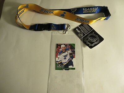 St .louis Blues Two Tone Lanyard Keychain With Ticket Holder Plus Player Card