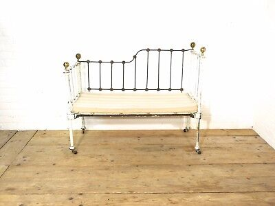 Original Antique French Iron Sofa/Daybed/Cot. Original paint