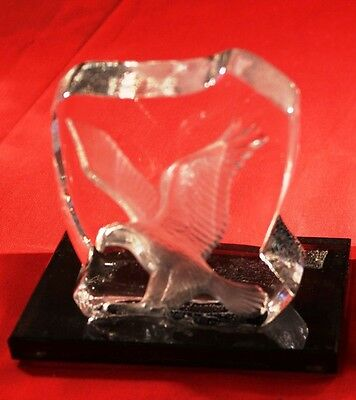 "Gorgeous 5"" Glass with Etched Eagle Display or Trophy Award Smoke Tint Base"