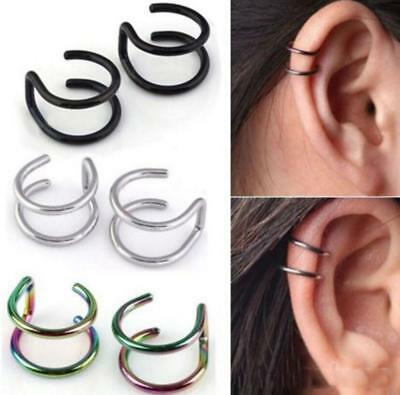 Surgical Steel Nose Clip Ear Cartilage Tragus Helix Hoop Thin Small No Piercing