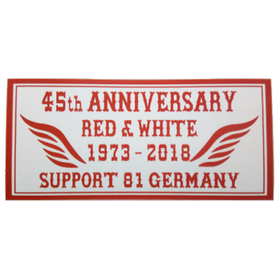 Hells Angels Support Aufkleber 45th ANNIVERSARY RED & WHITE GERMANY 1973-2018