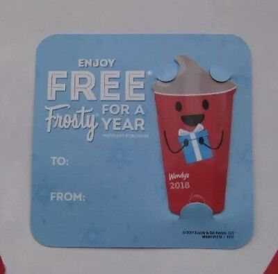 2018 Wendy's FREE FROSTY EVERY VISIT keytag card wendys key tag fob