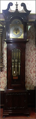 Musical Tube Quarter Chime Mahogany Longcase Grandfather Clock NEW Clearance