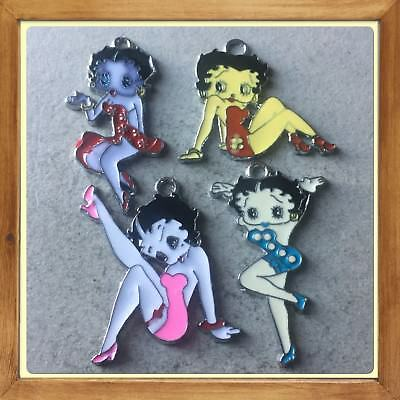 Lot Of 4 Vintage Betty Boop  Metal Charms,Brand New #5