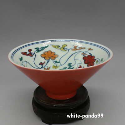 Marked old chinese Ming Dyn XuanDe underglaze red porcelain tea cup tea bowl