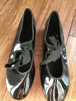 ABT Spotlights Black Patent Kids Tap Shoes Girls Size 4 1/2 Free Shipping