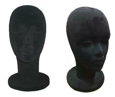auction BLACK VELVET HEAD DISPLAY hat rack store wig displays novelty foam