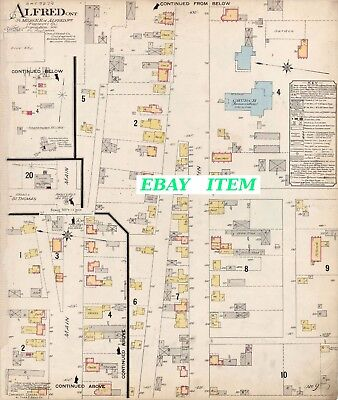ONTARIO ALFRED PRESCOTT COUNTY  Old Street & Building Map 1915