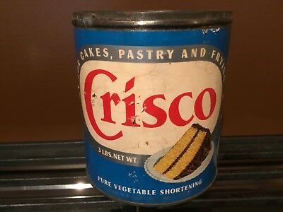 Vintage CRISCO Baking Shortening Tin Can Paper Label and Skippy jars