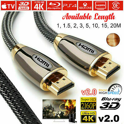 Premium 4K Hdmi 2.0 High Speed Cable Gold Plated Braided Lead 2160P 3D Hdtv Uhd