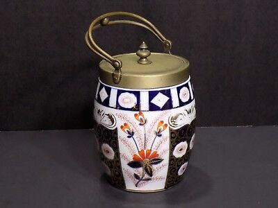 Antique Franziska Hirsch Dresden Porcelain Biscuit Jar With Brass Handle And Lid