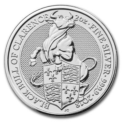 5 Pounds Queen's Beasts Black Bull Clarence Grossbritannien UK 2 oz Silber 2018