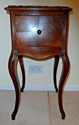 LOUIS XV Style ** French Antique ** Walnut Bedside/Lamp Cabinet with Marble Top