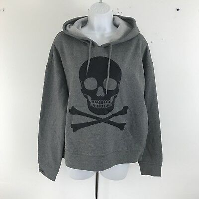 Hot Topic Gray Black Skull Cross Bone Hoodie XL NWT NEW