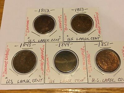 1843 1844 1851 1852 1853 Large Cent Problem Lot NO RESERVE!!! + FREE SHIPPING!!!
