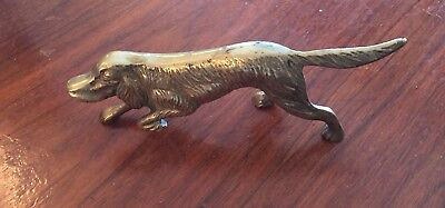 Vintage Cast Brass Metal Hunting Dog Irish Setter Figurine Statue Paper Weight