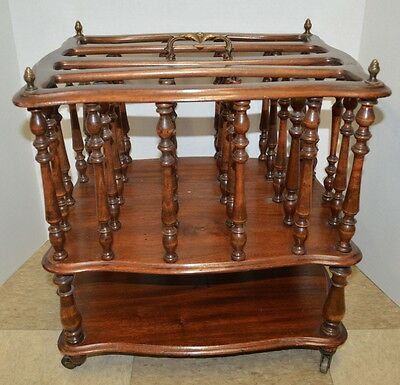 Antique 19th Century Mahogany Wood Canterbury