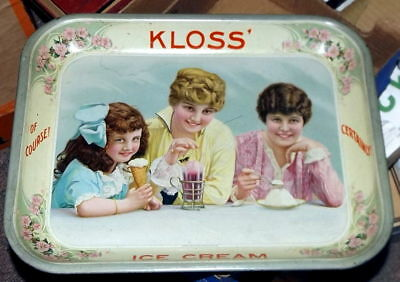 Outstanding Early Kloss High Graphic Ice Cream Tray No Reserve