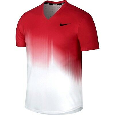 Nike Premier RF Dri-FIT Tennis Shirt Mens M Action Red White 854925 101 Federer