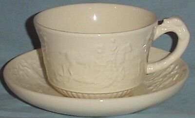 Wedgwood Devonshire Off White Cup Saucer Horses Fox Hunt Scene Hound Handle