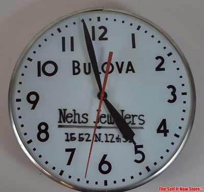 Vintage Telechron Bulova Watch Nehs Jewelers Advertising Lighted Wall Clock