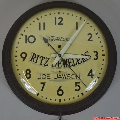 Vintage Telechron Ritz Jewelers Advertising Lighted Electric Wall Clock